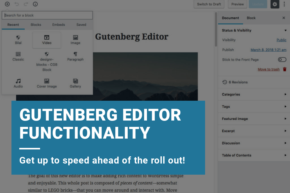 Gutenberg WordPress Editor Functionality - Your guide to creating posts and pages.