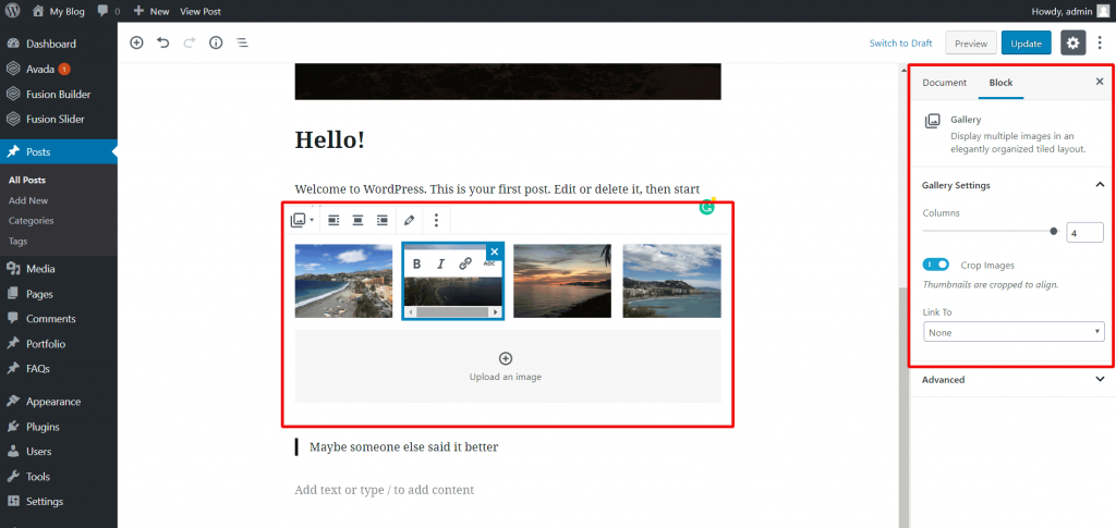 Upload images and edit galleries.