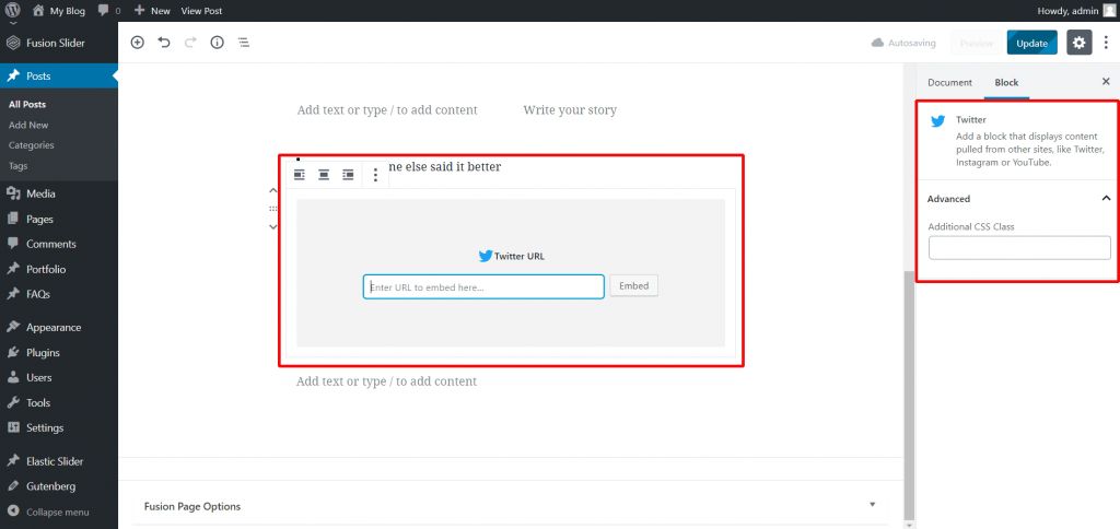 Embed your social media feeds into posts and pages using Gutenberg editor.